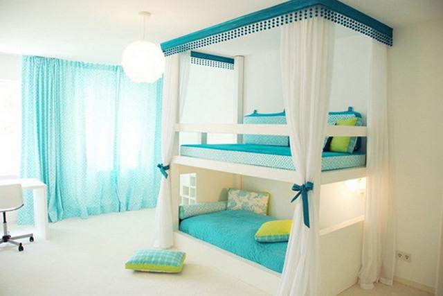 детская спальня в бирюзовых тонах