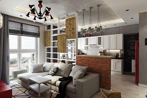 дизайн гостиной объединённой с кухней барная стойка и отделка стены кирпичём