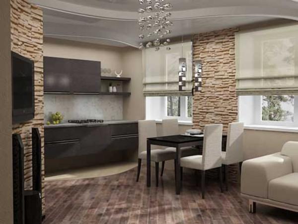 дизайн гостиной обединённой с кухней искуственный камень