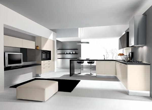 дизайн гостиной объединённой с кухней металлический цвет