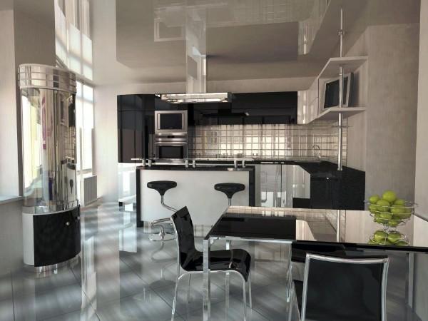 дизайн гостиной объединённой с кухней с глянцевыми фасадами