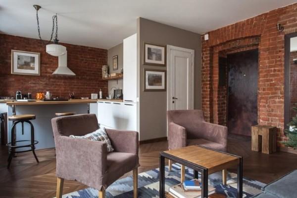 дизайн гостиной объединённой с кухней в индустриальном стиле