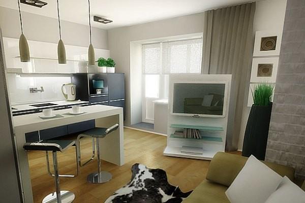 дизайн гостиной объединённой с кухней