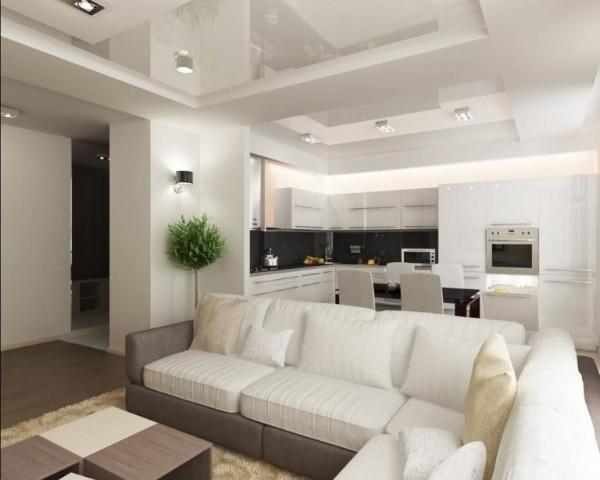 дизайн гостиной объединённой с кухней зонирование с помощью дивана