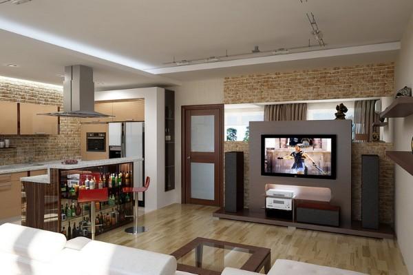 дизайн гостиной объединённой с кухней отделка стены кирпичём