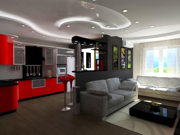 эффектный дизайн интерьера в гостиной объединённый с кухней