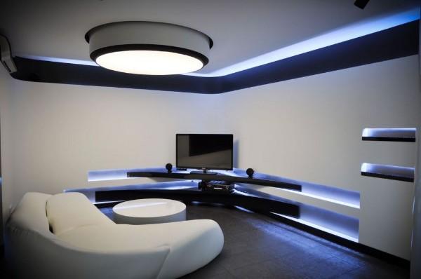 эффектный современный дизайн интерьера гостиной в стиле хай-тек