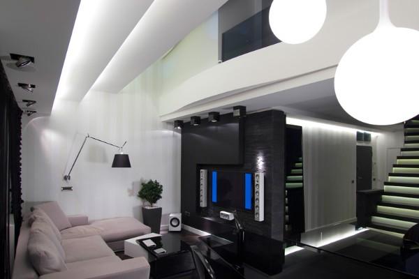 эффектный современный дизайн интерьера гостиной