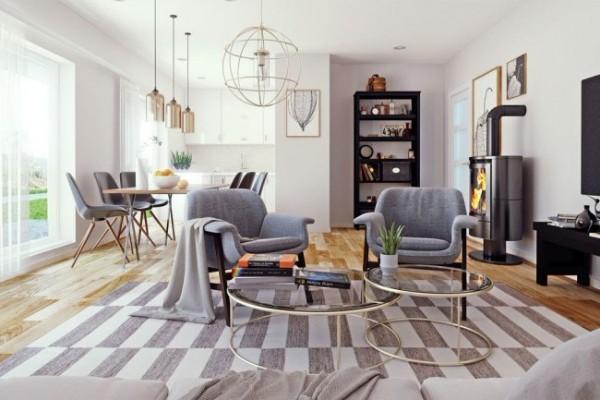 эффектный современный дизайн интерьера квартиры студии