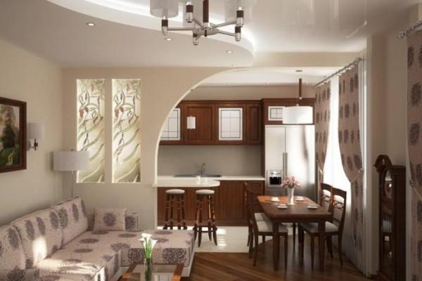 интерьер гостиной объединённой с кухней с гипсокартонной перегородкой