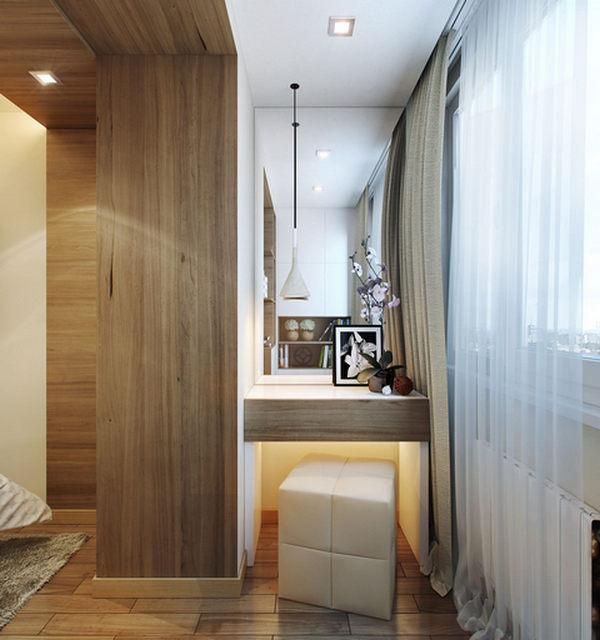 интерьер спальни совмещённый с балконом