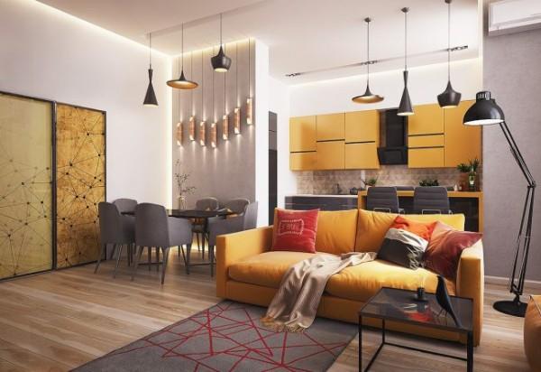 интересная мебель в дизайне гостиной объединённой с кухней