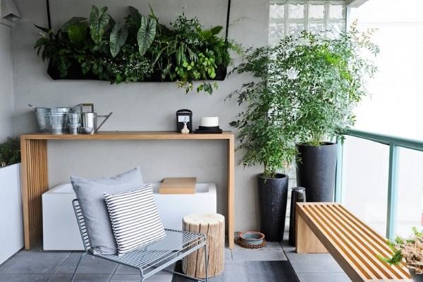 интересное оформление интерьера растениями