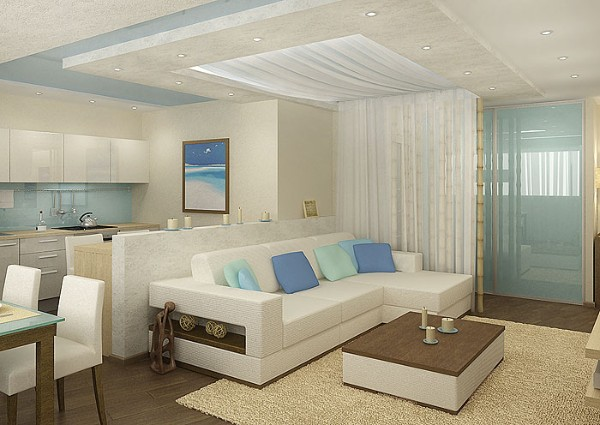 интересный дизайн интерьера с многоуровневым потолком в гостиной обеденной с кухней