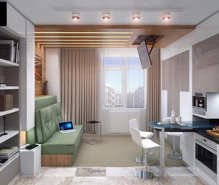 интерьер гостиной с балконом