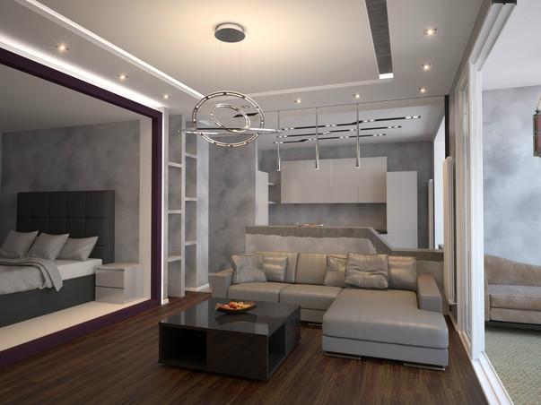 интерьер студии с балконом