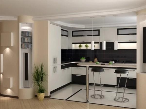 контрастный дизайн гостиной обьединённой с кухней