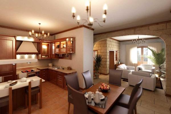 коричневый интерьер гостиной объединённой с кухней с островом