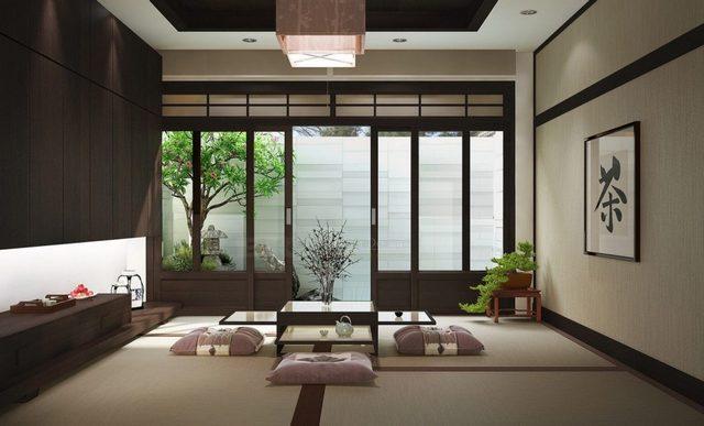 красивая гостиная в японском стиле