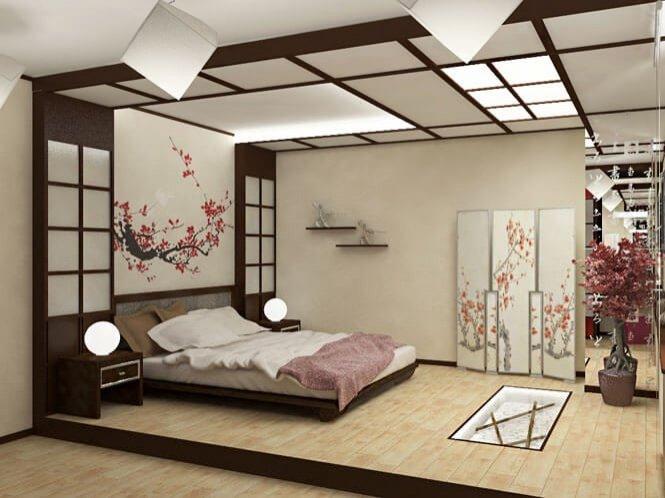 красивая спальня в японском стиле