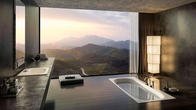 красивая ванная в японском стиле