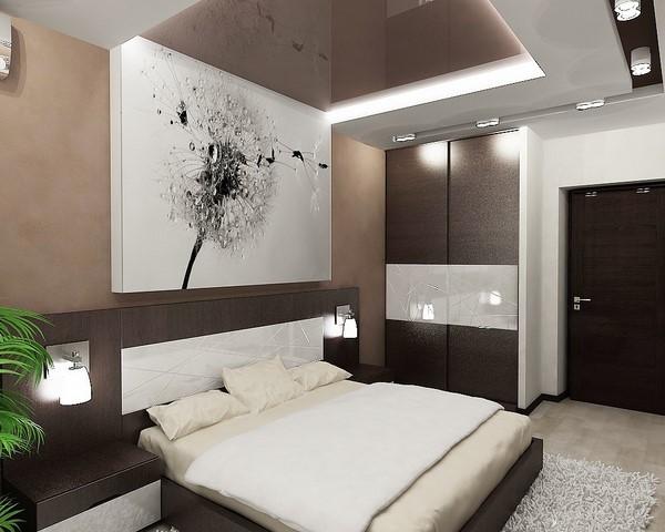 красивый интерьер современной спальни в шоколадном цвете