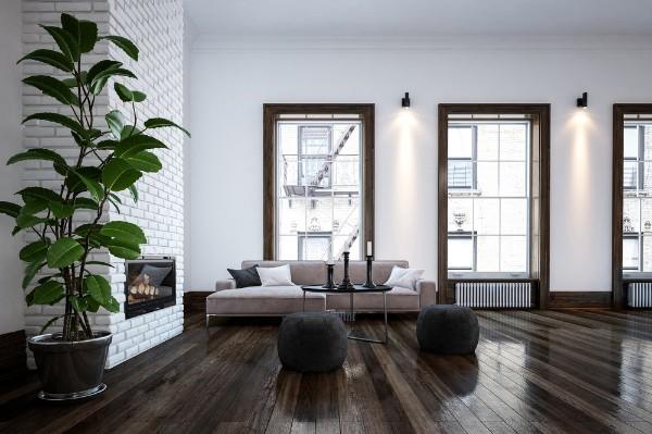 крупное растение в современном интерьере гостиной с тёмным полом