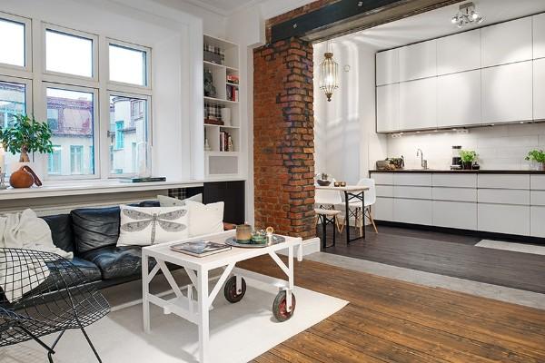 лофт в дизайне гостиной обеденной кухней