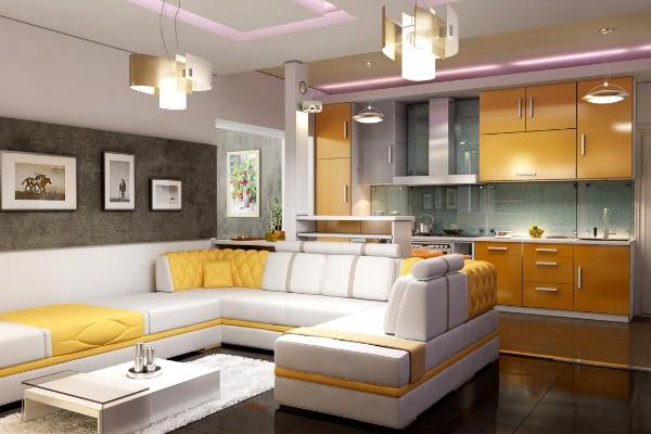 милый дизайн гостиной объединённой с кухней в жёлтом цвете
