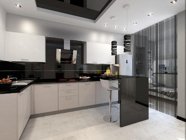 модный интерьер гостиной объединённой с кухней