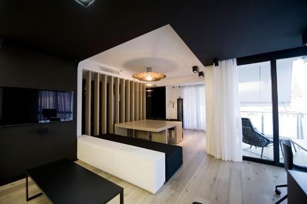 модный современный дизайн интерьера в стиле хай-тек чёрно-белый