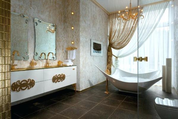 модный современный дизайн интерьера ванной в золотом цвете