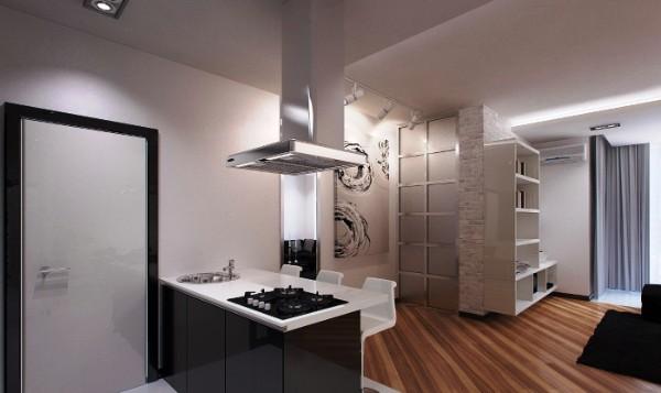 небольшая кухня объединённая с гостиной в квартире студии