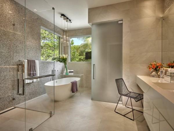 нейтральный цвет современный дизайн интерьера ванной