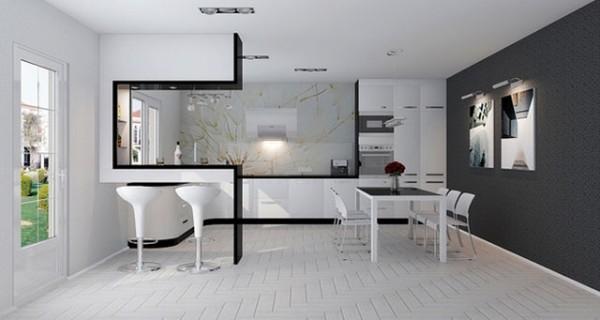 оформление дизайна квартиры студии в чёрно-белом цвете современный вариант