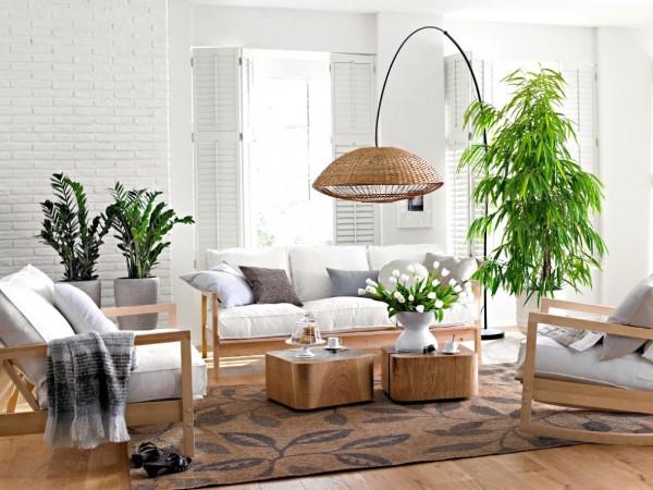 оформление интерьера гостиной дизайн с крупными и средними растениями