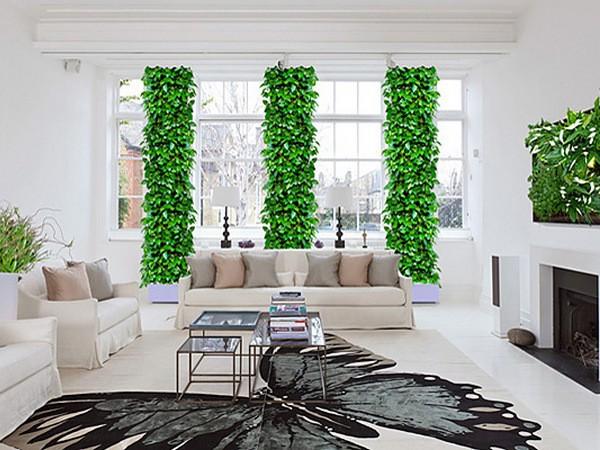 оформление интерьера гостиной вертикальное озеленение