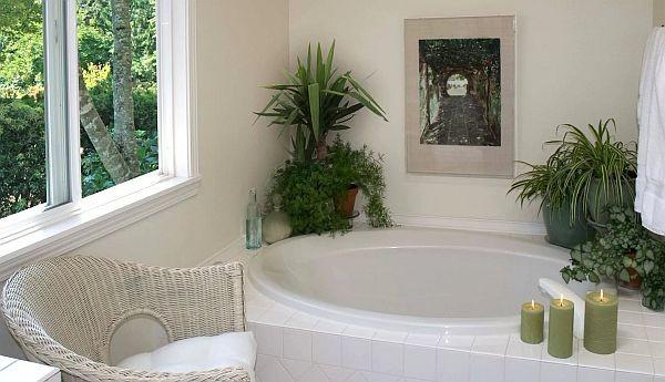 оформление интерьера небольшой ванной комнаты растениями