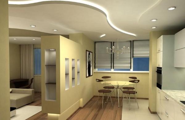 оригинальный дизайн гостиной объединённой с кухней в пастельных тонах