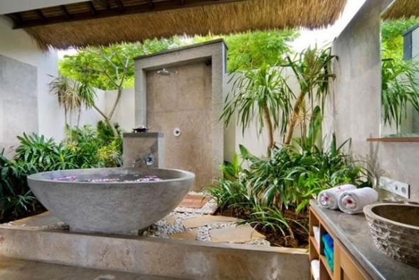 оригинальный дизайн ванной оформление живыми растениями
