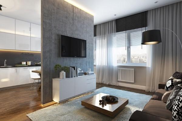 перегородка в дизайне гостиной объединённой с кухней