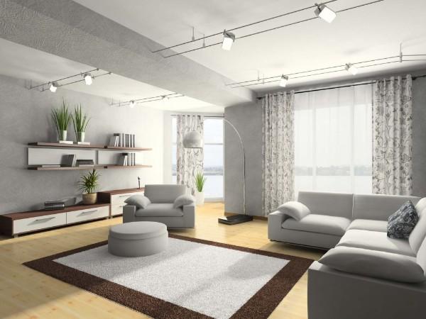 просторный современный дизайн интерьера гостиной в светлых тонах