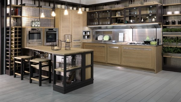 просторный современный дизайн интерьера кухни хай-тек