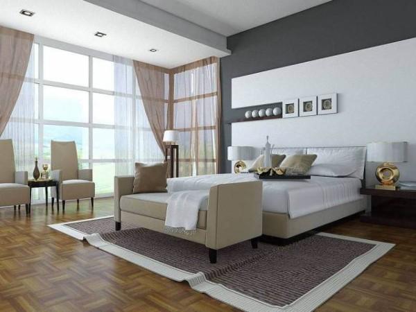 просторный современный дизайн интерьера спальни 2018