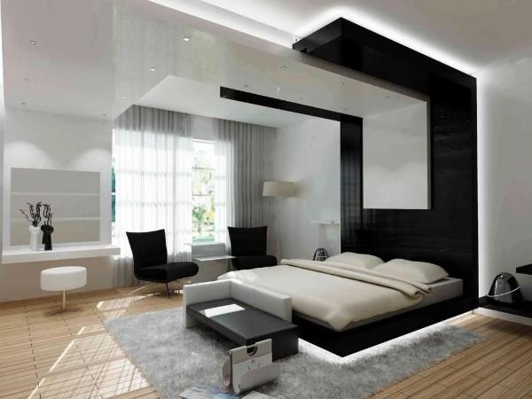 роскошный минималистический современный дизайн интерьера спальни