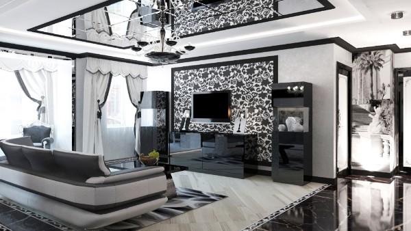 роскошный современный дизайн интерьера гостиной 2018