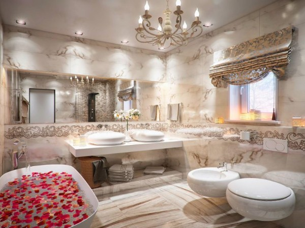 роскошный современный дизайн интерьера ванной 2018