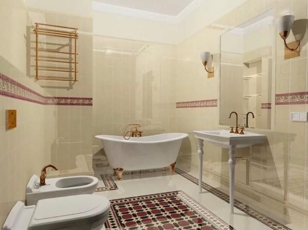 роскошный современный дизайн интерьера ванной комнаты в молочном цвете 2018