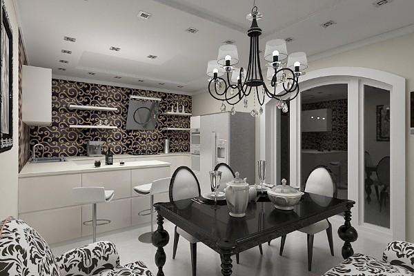 роскошный светлый современный дизайн интерьера кухни арт-деко