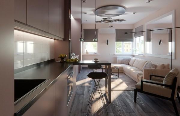 сдержанный современный дизайн гостиной объединённой с кухней